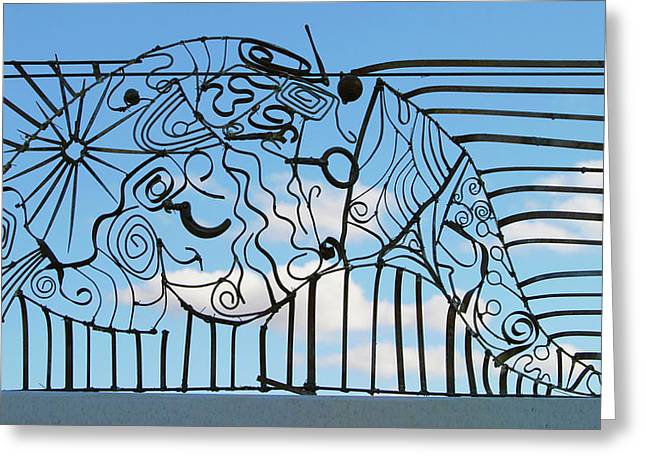 Weld Sculptures Greeting Cards - Fish with an F Greeting Card by Tommy  Urbans