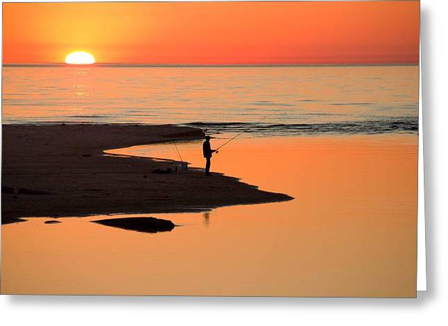 Ludington State Park Greeting Cards - Fisherman at Sunset Greeting Card by Twenty Two North Photography