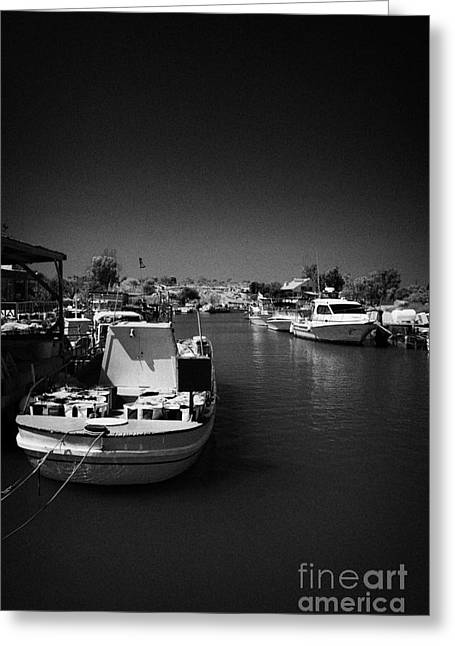 Fishing Creek Greeting Cards - Fishing Boats Tied Up In Potamos Typical Small Unspoilt Fishing Village Republic Of Cyprus Greeting Card by Joe Fox