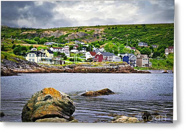 Fishing village in Newfoundland Greeting Card by Elena Elisseeva