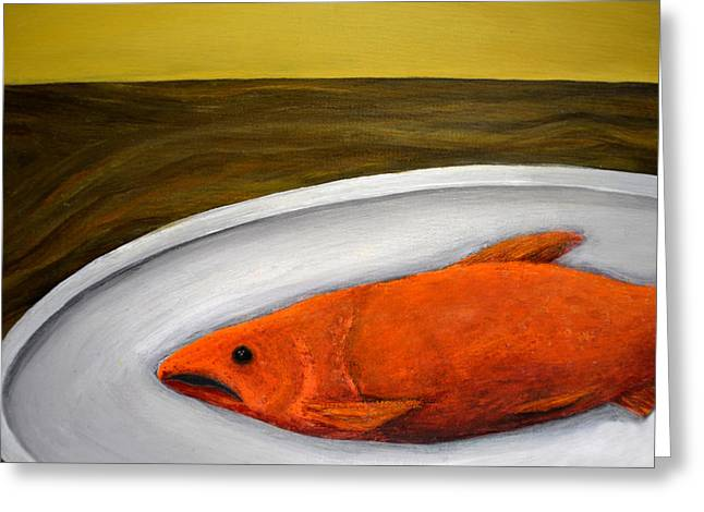 Salmon Paintings Greeting Cards - Fishy Fish ll Greeting Card by Michelle Calkins