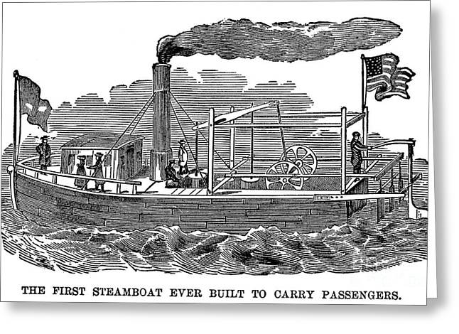 Steamboat Greeting Cards - FITCHS STEAMBOAT, c1790 Greeting Card by Granger
