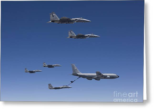 Cooperation Greeting Cards - Five F-15 Eagles Conduct Aerial Greeting Card by HIGH-G Productions