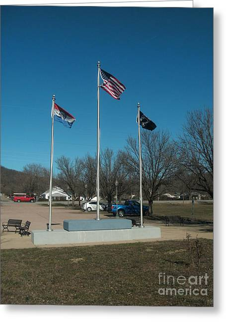 Civil War Battle Site Greeting Cards - Flags with Blue Sky Greeting Card by Kip DeVore