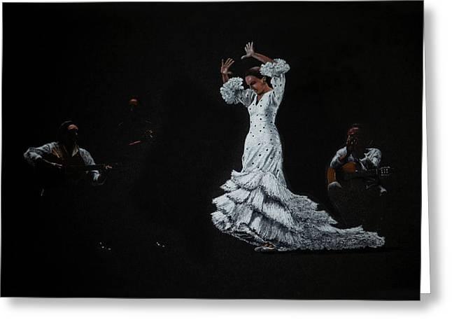 Martin Howard Greeting Cards - Flamenco dancer and guitarists Greeting Card by Martin Howard