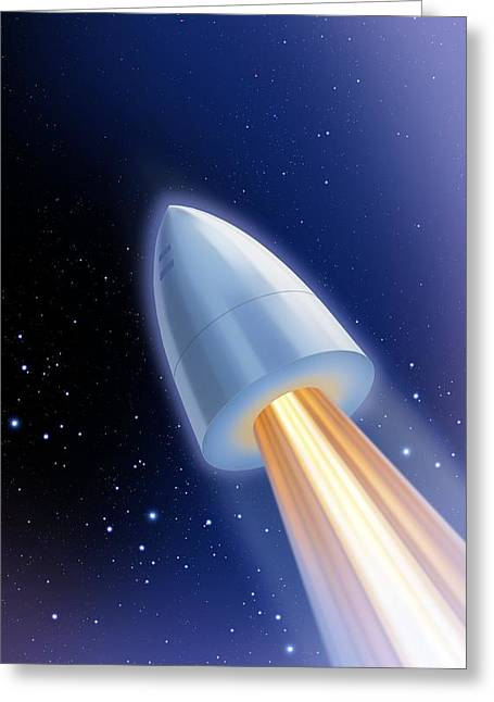 Rocket Greeting Cards - Flight To The Moon By Jules Verne Greeting Card by Detlev Van Ravenswaay