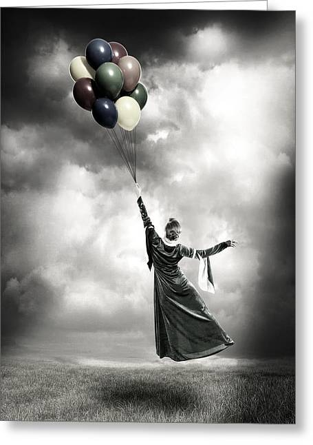Balloon Greeting Cards - Floating Greeting Card by Joana Kruse