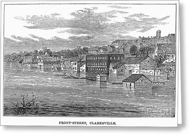 1874 Greeting Cards - Flood: Clarksville, 1874 Greeting Card by Granger