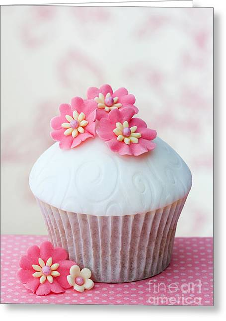 Fondant Greeting Cards - Flower cupcake Greeting Card by Ruth Black