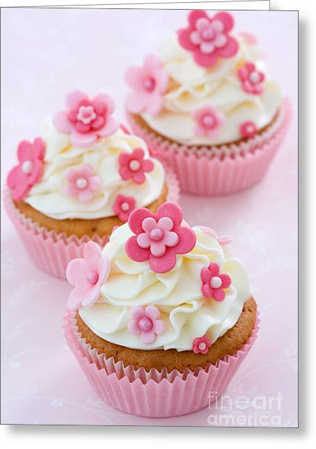 Fondant Greeting Cards - Flower cupcakes Greeting Card by Ruth Black