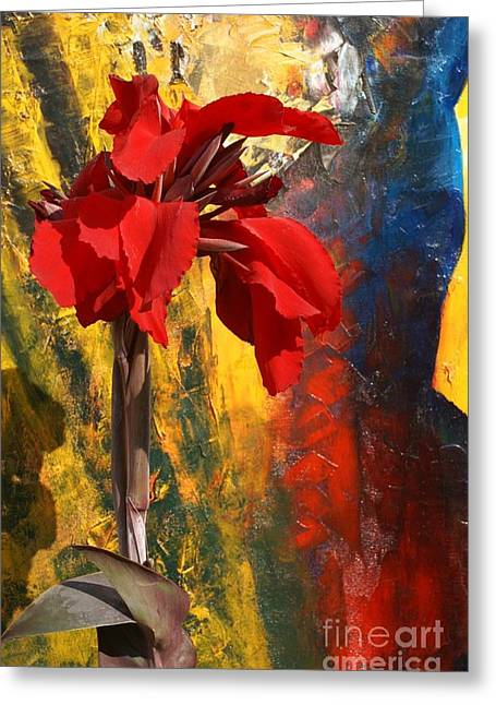 Canna Mixed Media Greeting Cards - Flowers And Art Greeting Card by Geegee W