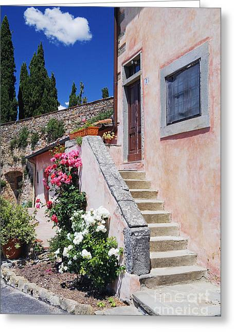 Chianti Greeting Cards - Flowers Growing on Side of House Stairs Greeting Card by Jeremy Woodhouse
