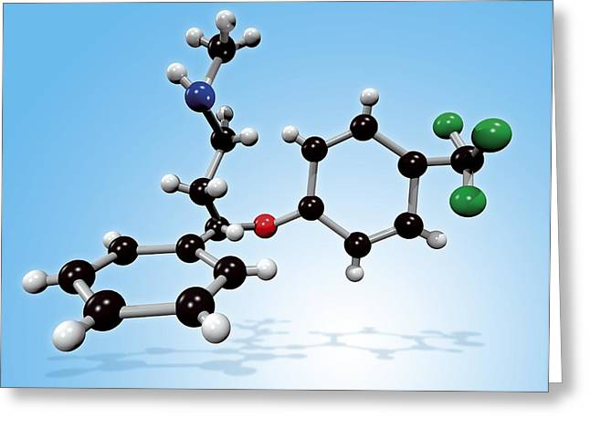 Fluoxetine Drug Molecule Greeting Card by Miriam Maslo