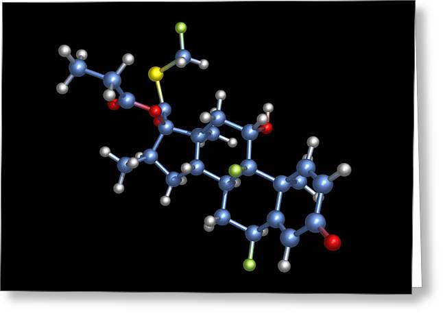 Corticosteroid Greeting Cards - Fluticasone Asthma Drug Molecule Greeting Card by Dr Tim Evans