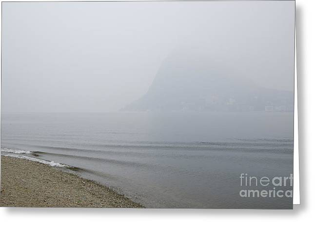 Foggy Beach Greeting Cards - Foggy lake Greeting Card by Mats Silvan