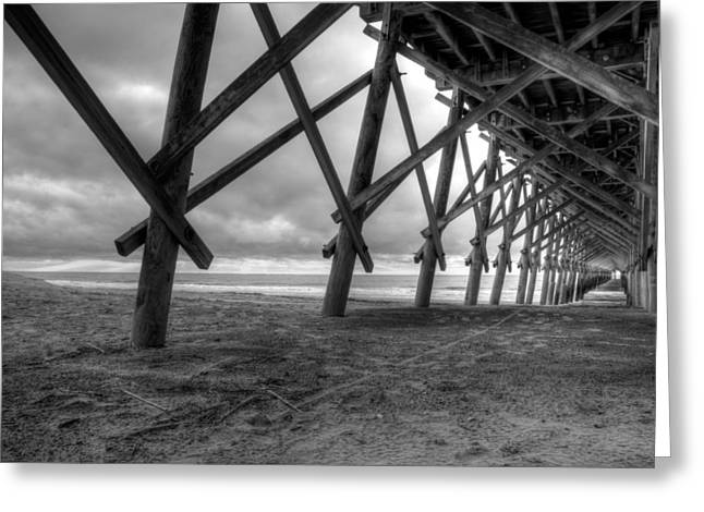 Folly Greeting Cards - Folly Beach Pier Black and White Greeting Card by Dustin K Ryan