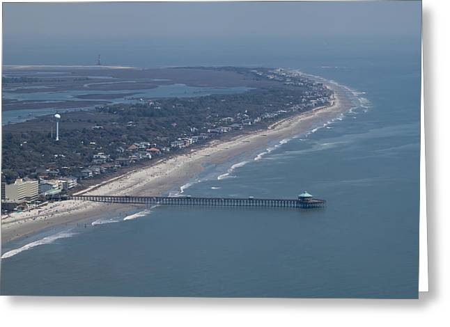 Atlantic Beaches Greeting Cards - Folly Beach South Carolina Aerial Greeting Card by Dustin K Ryan