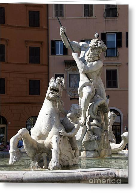 Fountain Figure Greeting Cards - Fontana del Nettuno. Neptune Fountain. Piazza Navona. Rome Greeting Card by Bernard Jaubert