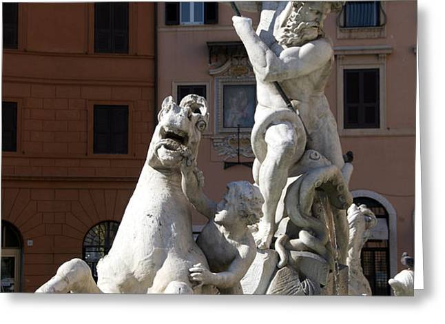 Fontana del Nettuno. Neptune Fountain. Piazza Navona. Rome Greeting Card by BERNARD JAUBERT
