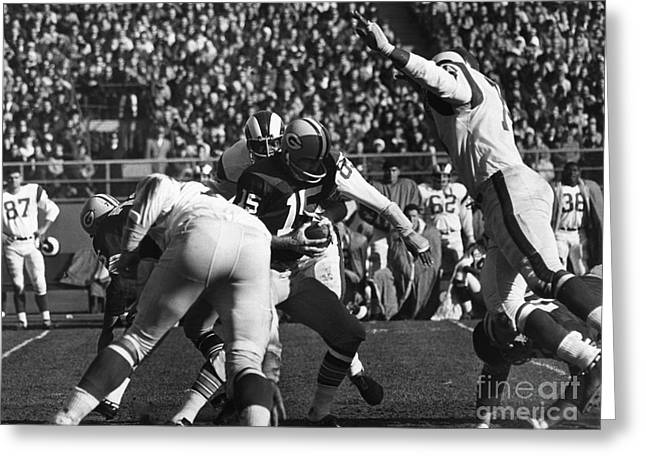 Packer Quarterback Greeting Cards - Football Game, 1965 Greeting Card by Granger