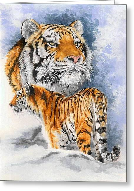 Wildcats Mixed Media Greeting Cards - Forceful Greeting Card by Barbara Keith