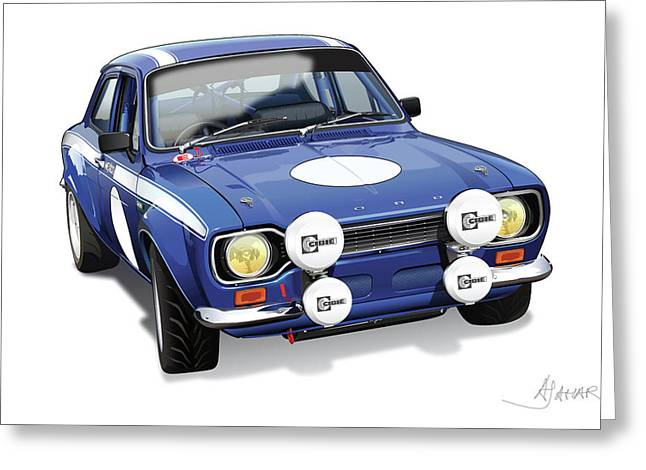 Rally Greeting Cards - Ford Escort Mexico Greeting Card by Alain Jamar