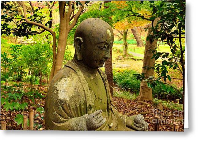 Meditative Greeting Cards - Forest Buddha Greeting Card by Dean Harte