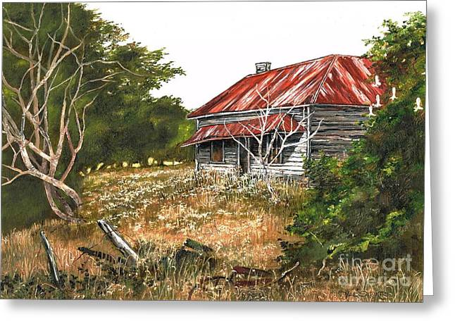 Old Fence Posts Paintings Greeting Cards - Forgotten Dreams Greeting Card by Val Stokes