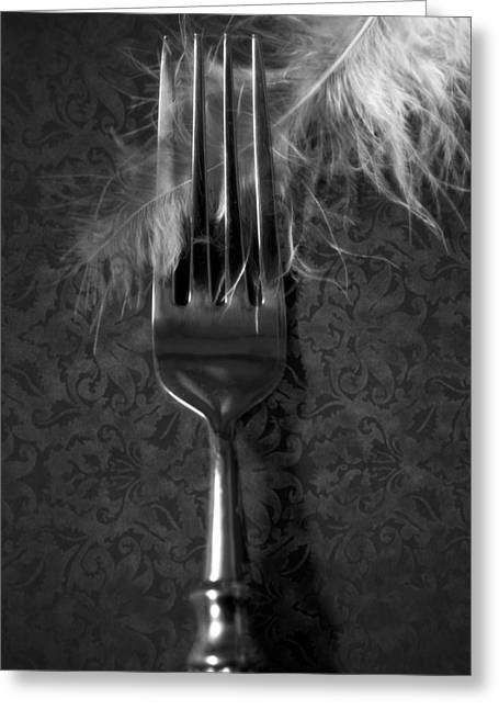 Fork And Feather Greeting Card by Joana Kruse
