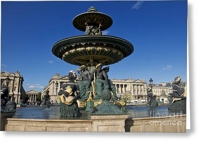 Ile De France Greeting Cards - Fountain at Place de la Concorde. Paris. France Greeting Card by Bernard Jaubert