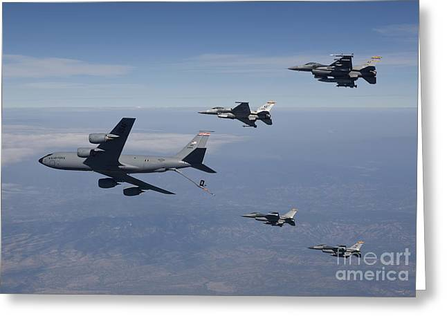 Cooperation Greeting Cards - Four F-16s And A Kc-135 Fly Greeting Card by HIGH-G Productions