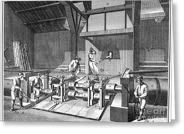 Ironworkers Greeting Cards - FRANCE: IRON MILL, c1750 Greeting Card by Granger
