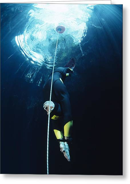 Cenote Greeting Cards - Free-diver Greeting Card by Alexis Rosenfeld