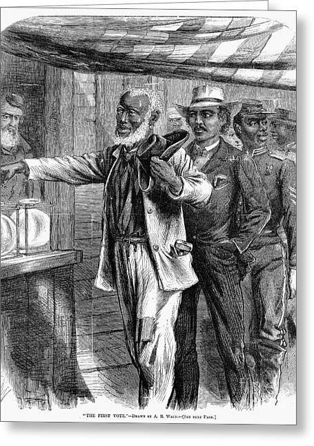 Voting Rights Greeting Cards - Freedmen Voting, 1867 Greeting Card by Granger
