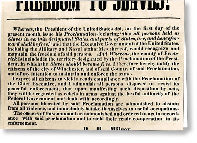 Freedom To Slaves Greeting Card by Photo Researchers, Inc.