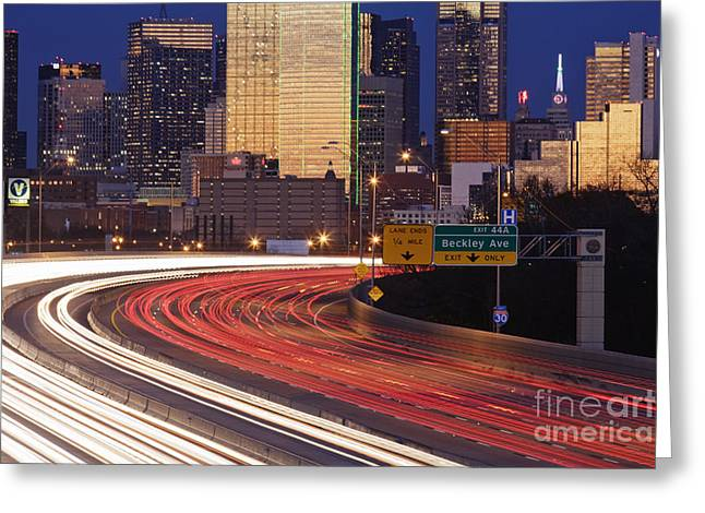 Office Space Photographs Greeting Cards - Freeway Traffic at Dusk on I-30 Greeting Card by Jeremy Woodhouse