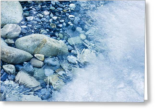 Forming Stones Greeting Cards - Freezing River Greeting Card by Jeremy Walker