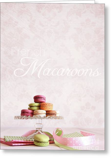 Tea Party Greeting Cards - French macaroons on dessert tray Greeting Card by Sandra Cunningham