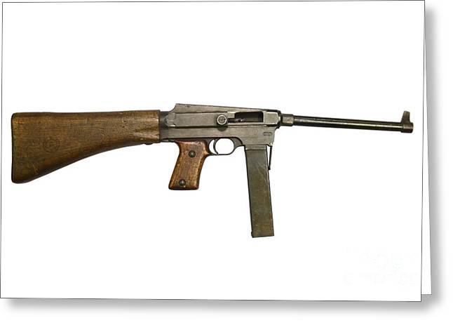 Copy Machine Greeting Cards - French Mas Model 38 Submachine Gun Greeting Card by Andrew Chittock
