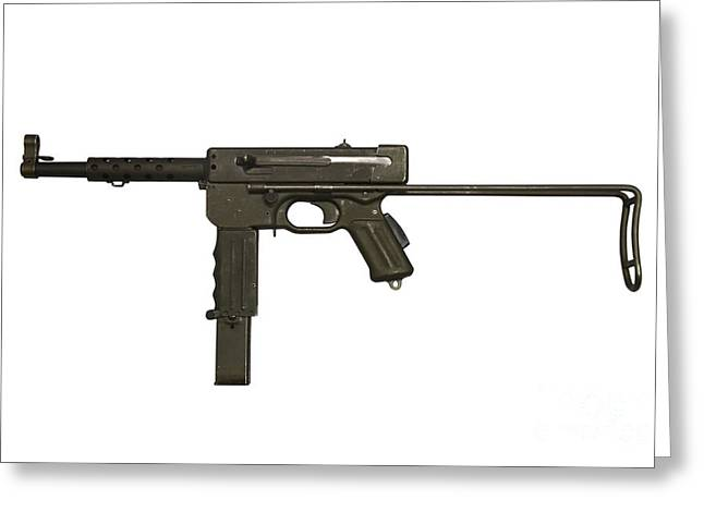 Copy Machine Greeting Cards - French Mat-49 Submachine Gun Greeting Card by Andrew Chittock
