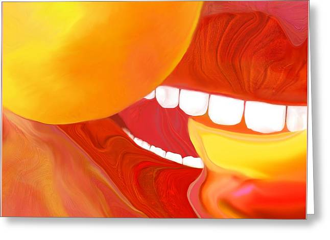 Mathilde Vhargon Greeting Cards - Fresh Peaches Taste Like Sunshine Greeting Card by Mathilde Vhargon