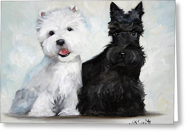 Scottish Terrier Puppy Greeting Cards - Friends Greeting Card by Mary Sparrow