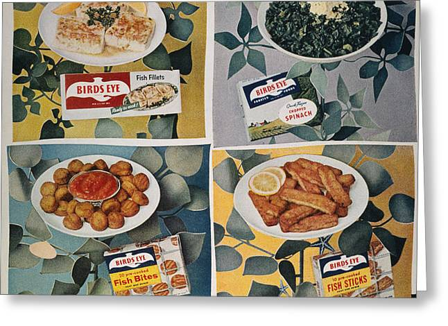 FROZEN FOOD AD, 1957 Greeting Card by Granger