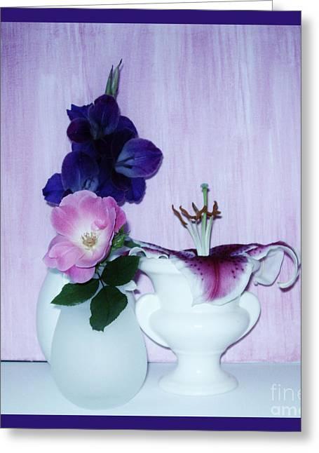 Gladiolas Digital Art Greeting Cards - Full Bloom Greeting Card by Marsha Heiken