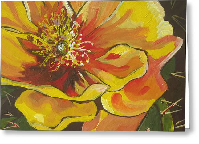 Stamen Paintings Greeting Cards - Full Bloom Greeting Card by Sandy Tracey