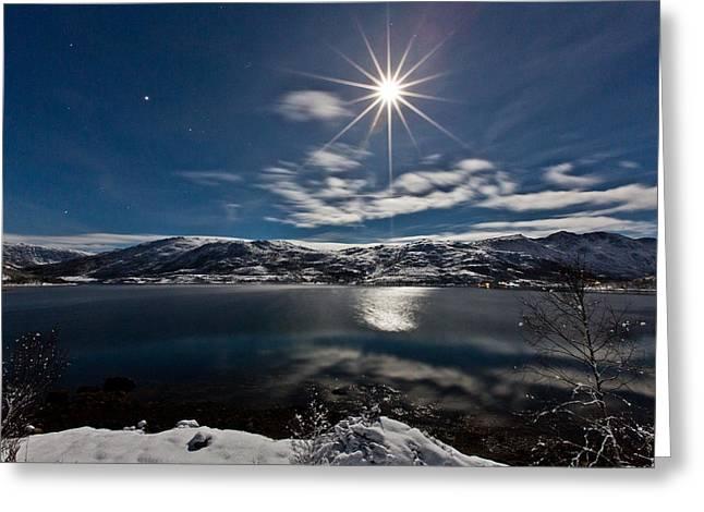 Full Moon Greeting Card by Frank Olsen