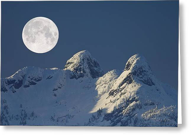 Snowy Night Night Greeting Cards - Full Moon Over The Lions, Canada Greeting Card by David Nunuk