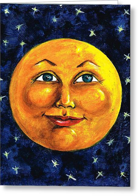 Man In The Moon Paintings Greeting Cards - Full Moon Greeting Card by Sarah Farren