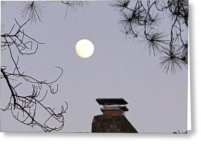Dusk Pyrography Greeting Cards - Full Moon Greeting Card by Valia Bradshaw