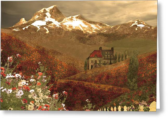 Grape Vineyards Greeting Cards - Full mythical landscape Greeting Card by Jeff Burgess